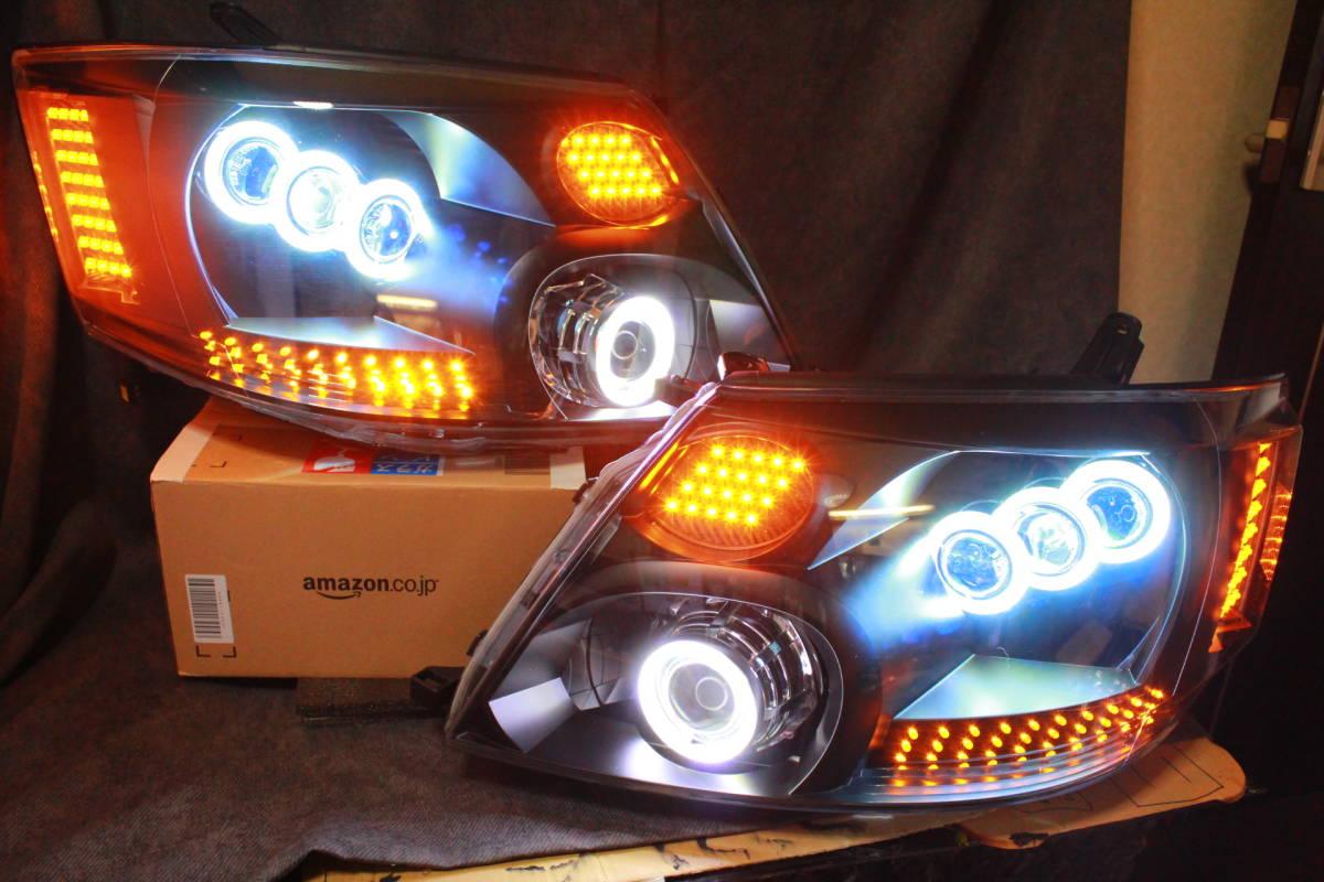 10系 アルファード前期 ヘッドライト LS600 COBイカリング ウィンカー流れる対応