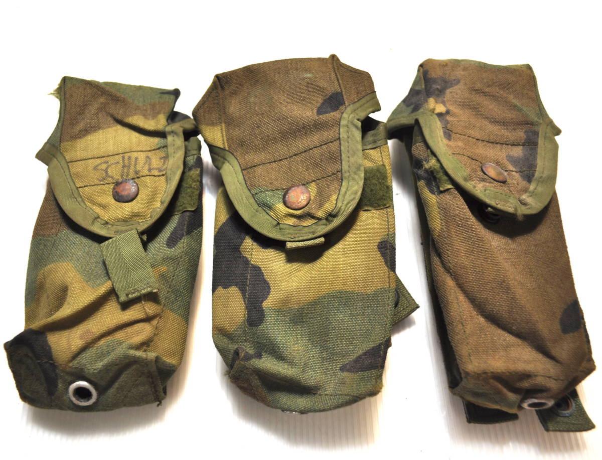 米軍放出品 実物 USMC 米海兵隊 US ARMY ウッドランド 迷彩 M4 M16 5.56mm 30連 シングルマガジンポーチ 3つセット FSBE AAV MARSOC_画像1