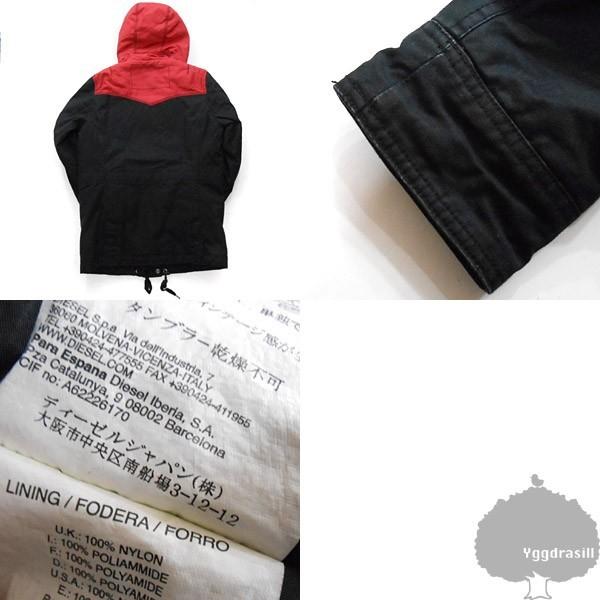 YGG★本物 DIESEL ディーゼル 切り替え ジャケット 黒赤 S 中綿 アウター ブラック×レッド メンズ_画像3