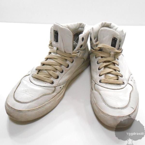 YGG★DIESEL ディーゼル レザー ハイカット スニーカー 白 US9 シューズ 靴 メンズ 27cm ホワイト_画像1