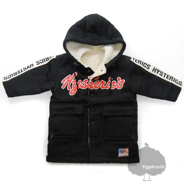 YGG★ヒステリックミニ ボア コート ジャケット 黒 95 ヒスミニ hysteric mini アウター 子供服 キッズ ブラック