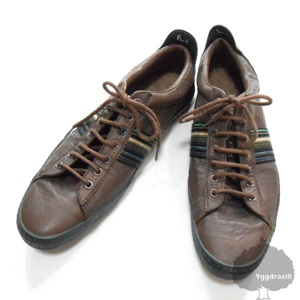 YGG★ポールスミス Paulsmith スニーカー 茶 ライン入り シューズ メンズ 27cm程度 ブラウン 靴 カジュアルOK_画像1