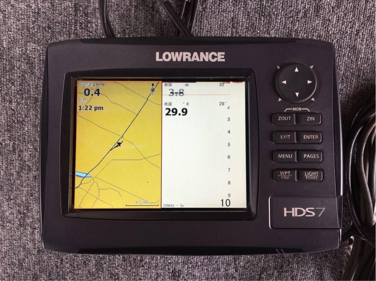 「LOWRANCE ローランス HDS7 gen2 琵琶湖ポイント打ち込み済地図カード付き、振動子付き。ジムクオーツ物。」の画像1