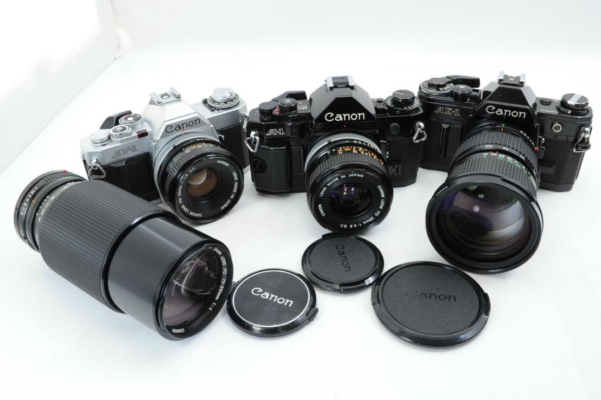 【ecoま】キャノン CANON AV-1/A-1/AE-1 一眼レフカメラ・レンズセット3台まとめて ジャンク