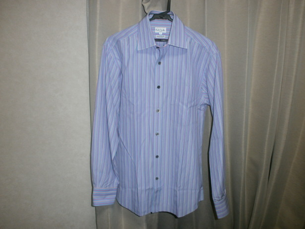 美品 ポールスミス PaulSmith サイズ M ストライプ 長袖シャツ 青 ベース × ピンク ライン イタリア製生地 日本製_画像1