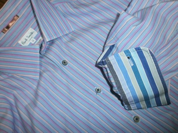 美品 ポールスミス PaulSmith サイズ M ストライプ 長袖シャツ 青 ベース × ピンク ライン イタリア製生地 日本製_画像3