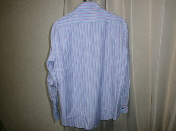 美品 ポールスミス PaulSmith サイズ M ストライプ 長袖シャツ 青 ベース × ピンク ライン イタリア製生地 日本製_画像2