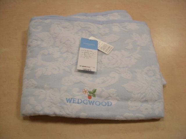 新品 ウエッジウッド WEDGWOOD 綿ハーフケット ブルー 日本製_画像1