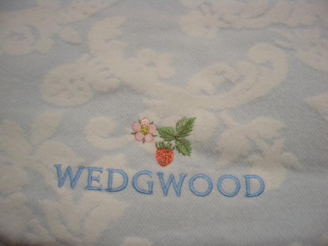 新品 ウエッジウッド WEDGWOOD 綿ハーフケット ブルー 日本製_画像2