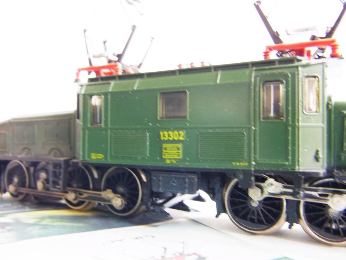 """Marklin・メルクリン#3056 SBB Be 6/8 """"Crocodile""""・クロコダイル電気機関車とサービス品貨車2台(完動・良品!)_画像9"""