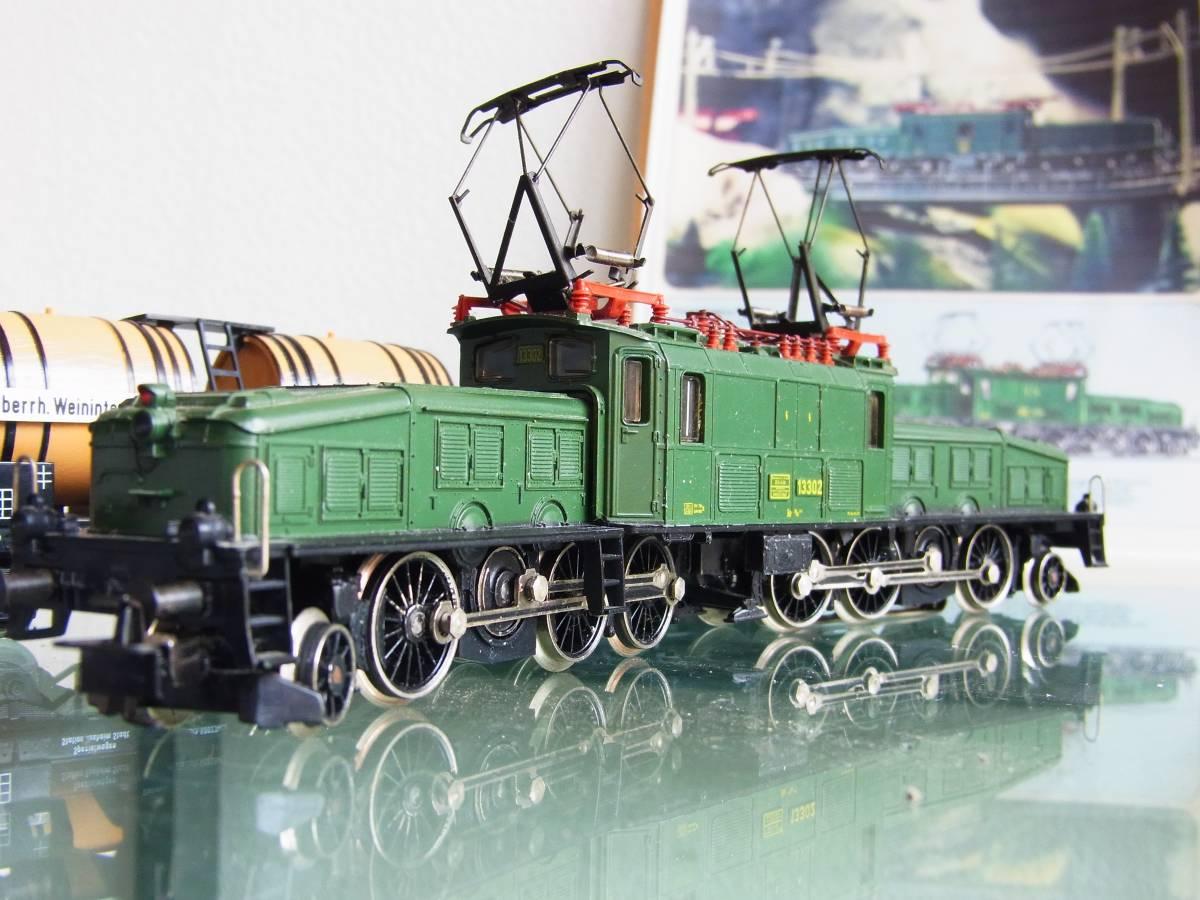 """Marklin・メルクリン#3056 SBB Be 6/8 """"Crocodile""""・クロコダイル電気機関車とサービス品貨車2台(完動・良品!)_画像2"""