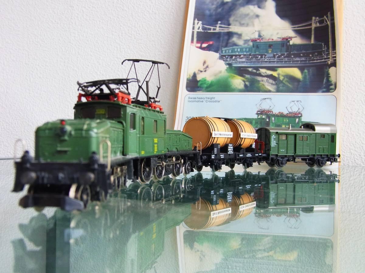 """Marklin・メルクリン#3056 SBB Be 6/8 """"Crocodile""""・クロコダイル電気機関車とサービス品貨車2台(完動・良品!)"""