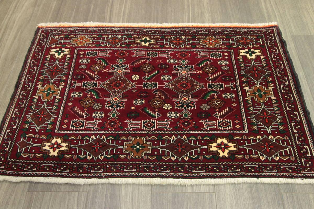 ヴィンテージ イラン 部族絨毯 カシュガイ族 ペルシャ手織り絨毯 幾何学モチーフ トライバルラグ アンティーク 102x62cm/GH951