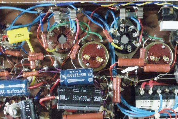 N29◆自作 真空管アンプ/TANGO,タンゴトランス U-808 2台/SANSUI/サンスイ P-44B/LUX/ラックス 4BC 1.3/チョークコイル 送:100_画像9