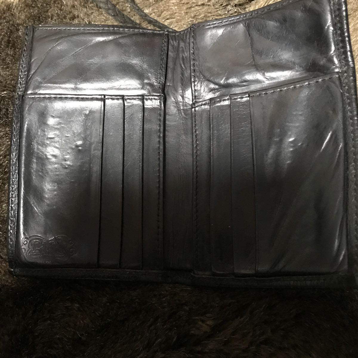 0424c3d50190 BWL ビルウォールレザー 二つ折りウォレット 財布 ストラップ付き_画像4