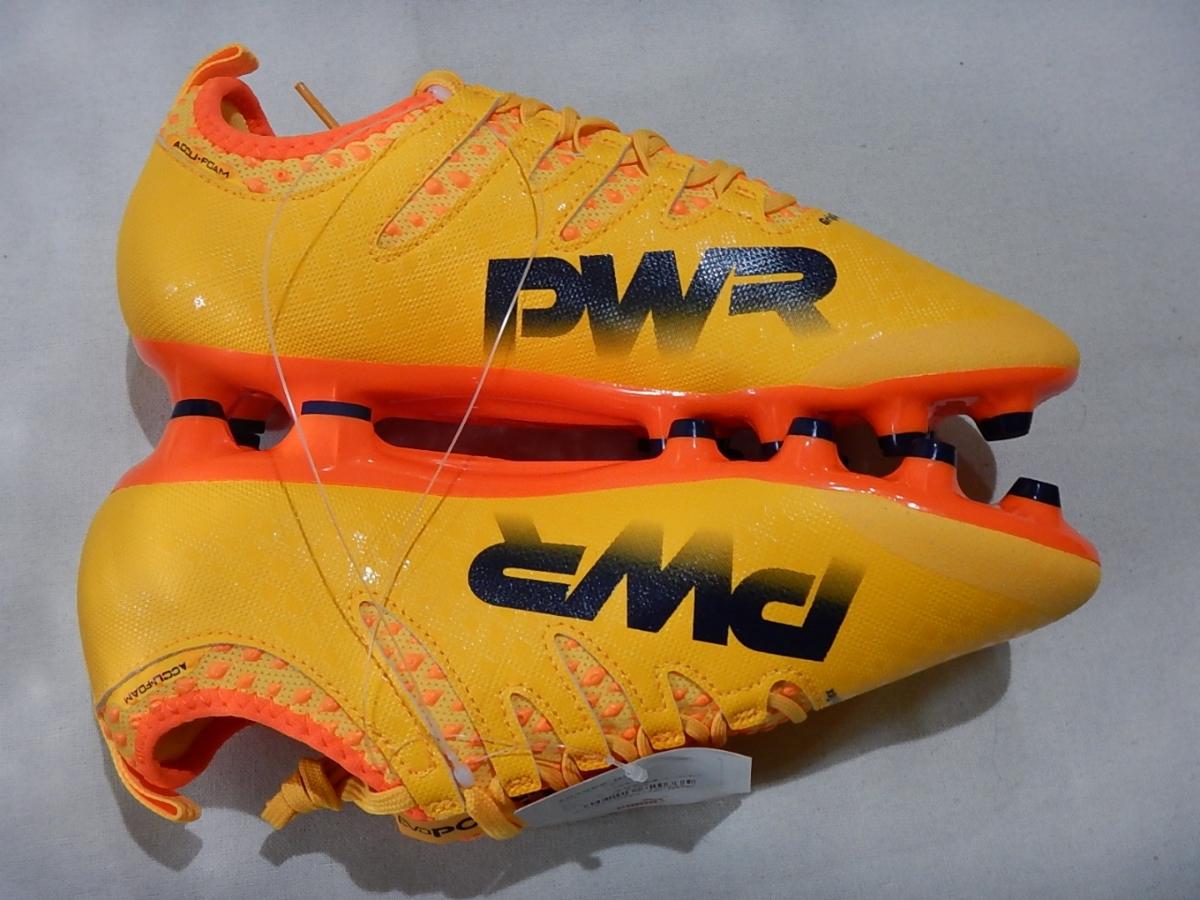 【新品】エヴォパワーVIGOR2HG(103955-03)プーマ サッカースパイク ウルトライエロー×ピーコート×オレンジクラウンフィッシュ サイズ25cm_画像3