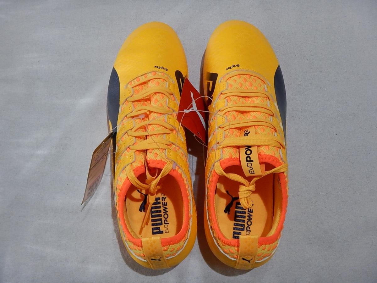 【新品】エヴォパワーVIGOR2HG(103955-03)プーマ サッカースパイク ウルトライエロー×ピーコート×オレンジクラウンフィッシュ サイズ25cm_画像5