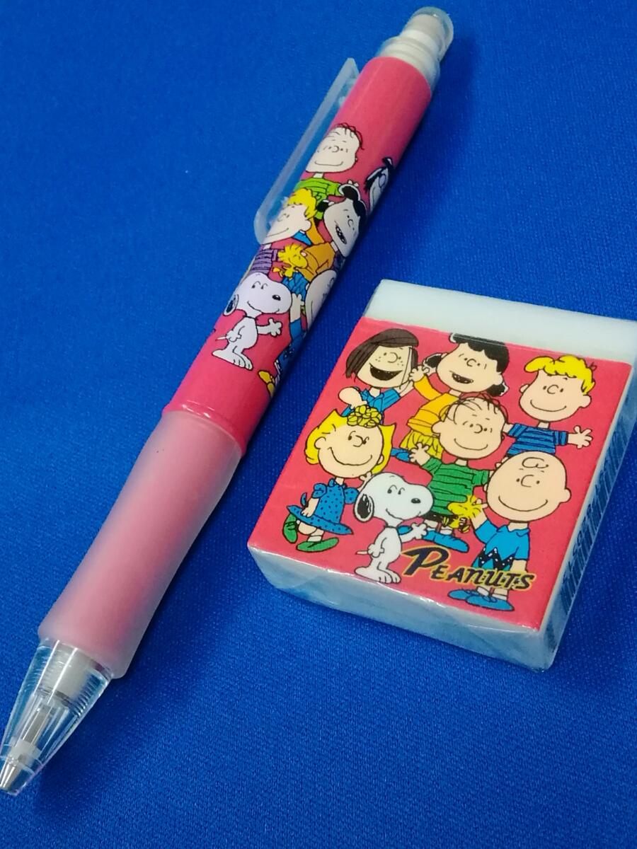 【新品】スヌーピー(SNOOPY)☆ピーナッツ(PEANUTS) シャープペン&消しゴムセット トンボ鉛筆