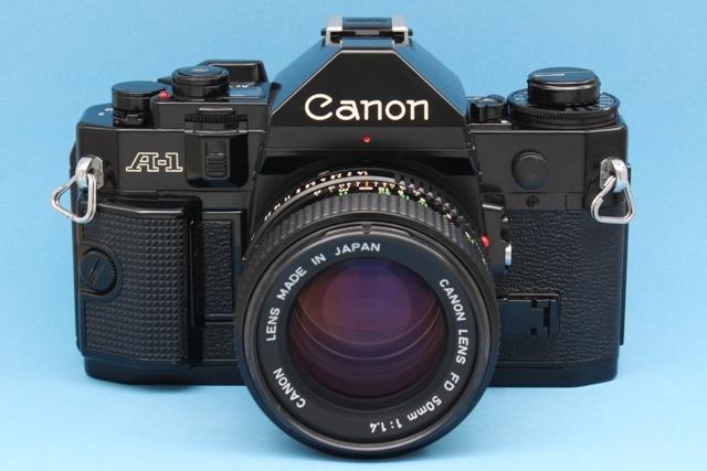 良品 Canon A-1 と New FD 50mm 1:1.4 シャッター鳴きなし 露出計作動 ファインダー良好 キャノン ジャンクで