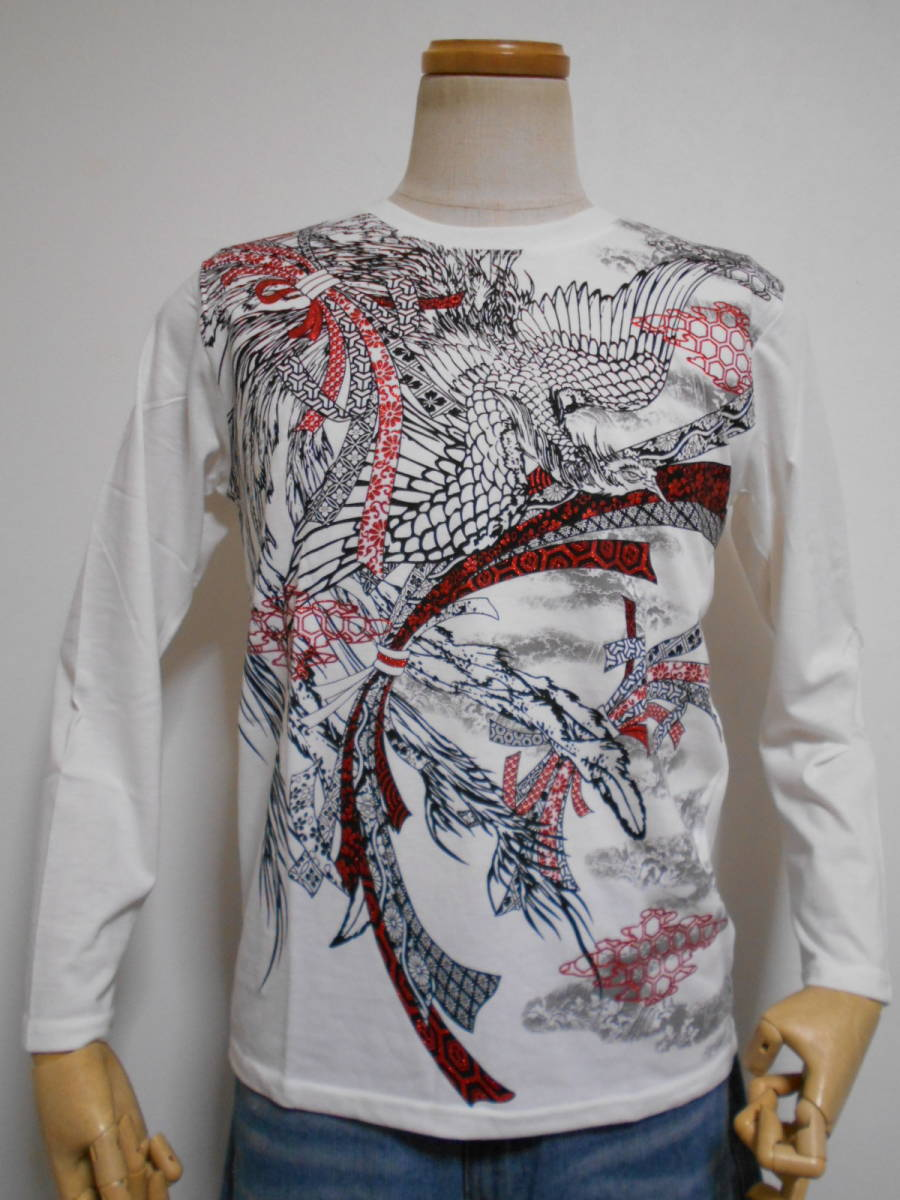 ◆和柄◆長袖Tシャツ◆鳳凰に熨斗赤ラメプリントフロントに幸運を運ぶ空想上の鳥究極の逸品、M~L、白 綿昆、激安限定★¥1,380_画像4