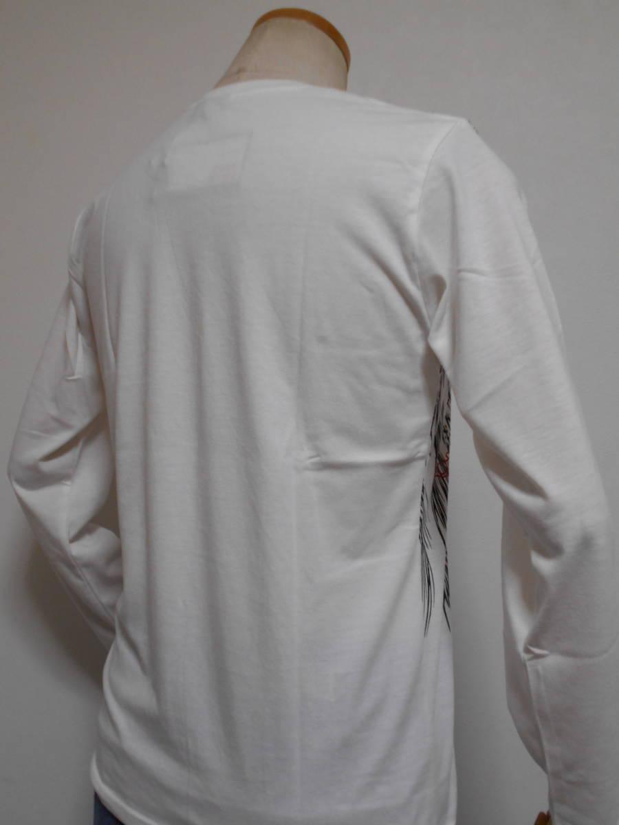 ◆和柄◆長袖Tシャツ◆鳳凰に熨斗赤ラメプリントフロントに幸運を運ぶ空想上の鳥究極の逸品、M~L、白 綿昆、激安限定★¥1,380_画像7