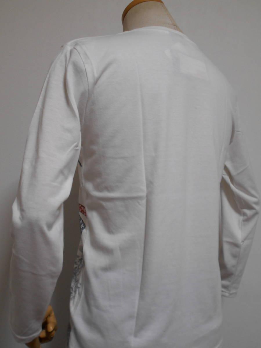◆和柄◆長袖Tシャツ◆鳳凰に熨斗赤ラメプリントフロントに幸運を運ぶ空想上の鳥究極の逸品、M~L、白 綿昆、激安限定★¥1,380_画像5