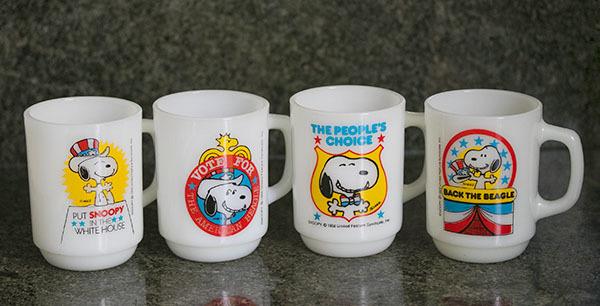 4個ともミント! ファイヤーキング マグ スヌーピー プレジデント アメリカ大統領 4個セット 耐熱 ミルクグラス コーヒー ピーナッツ _画像1