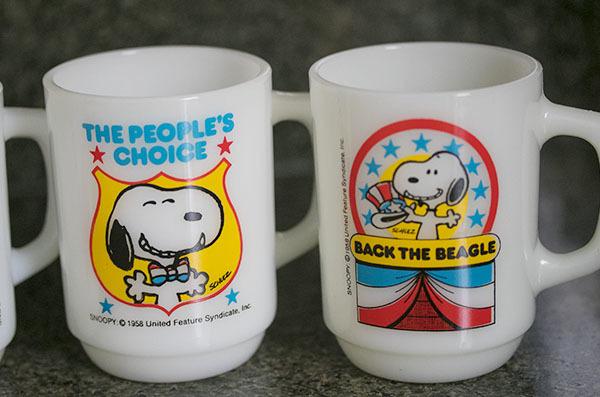4個ともミント! ファイヤーキング マグ スヌーピー プレジデント アメリカ大統領 4個セット 耐熱 ミルクグラス コーヒー ピーナッツ _画像3