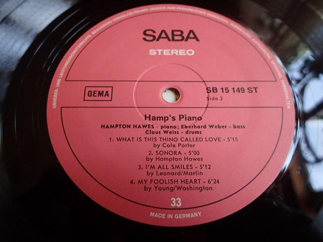 良盤:Germany SABA Hamp's Piano / HAMPTON HAWES_画像6