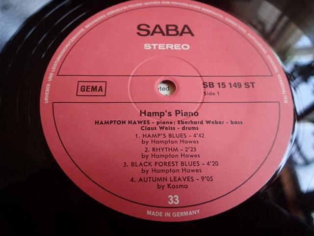 良盤:Germany SABA Hamp's Piano / HAMPTON HAWES_画像3
