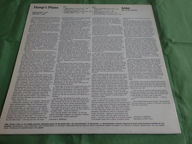良盤:Germany SABA Hamp's Piano / HAMPTON HAWES_画像2