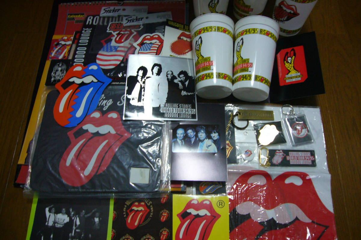 ローリング・ストーンズ The Rolling Stones グッズセット・CD/DVD関連・ステッカー・バッジなど多数◆袋に詰めて!◆未使用品含む◆特価