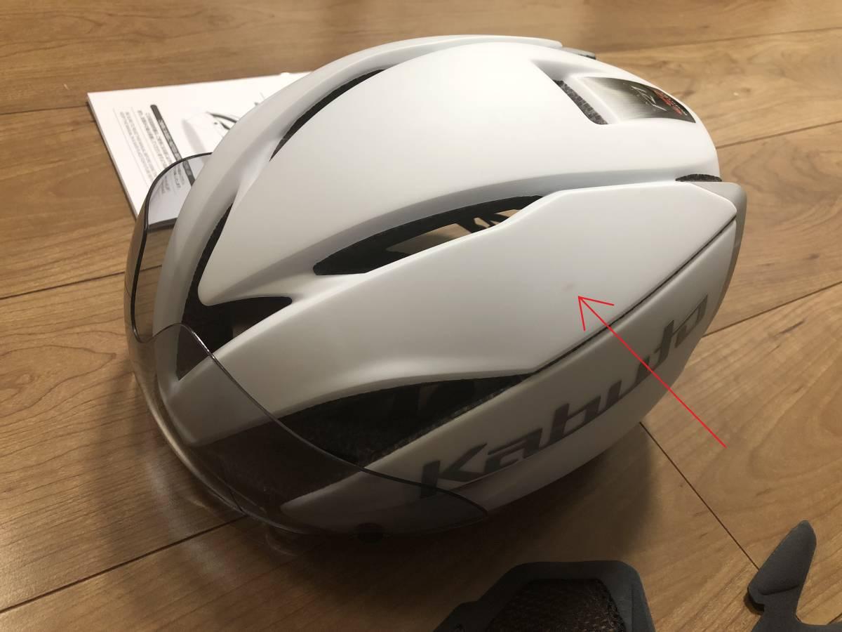■OGK エアロヘルメット AERO-R1 マットホワイト-1 L/XL 中古美品_画像2
