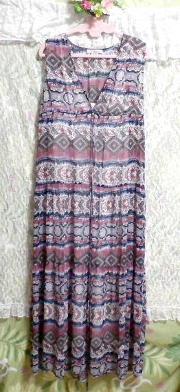 青とピンクと白エスニック柄Vネックロングスカートマキシワンピース Blue pink white ethnic pattern V neck long skirt maxi onepiece_画像5