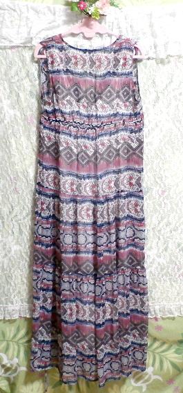 青とピンクと白エスニック柄Vネックロングスカートマキシワンピース Blue pink white ethnic pattern V neck long skirt maxi onepiece_画像6