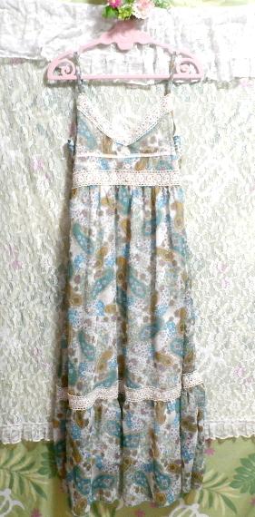 青緑フローラルホワイトエスニック柄シフォンマキシスカートワンピース Green blue floral white ethnic chiffon maxi skirt onepiece_画像5