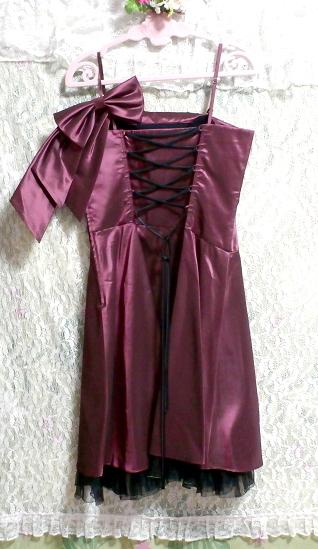 PREFERENCE PARTY'S プリフェレンスパーティーズ 紫光沢ワンピースキャミソールリボンドレス Purple gloss onepiece camisole ribbon dress_画像3