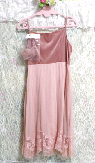ピンクシフォンレースキャミソールワンピース/ネグリジェ Pink chiffon lace camisole onepiece/negligee_画像5