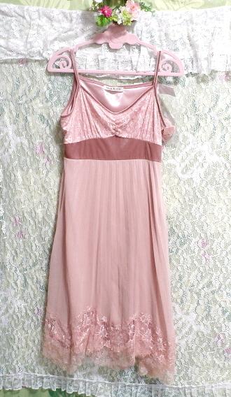 ピンクシフォンレースキャミソールワンピース/ネグリジェ Pink chiffon lace camisole onepiece/negligee_画像4