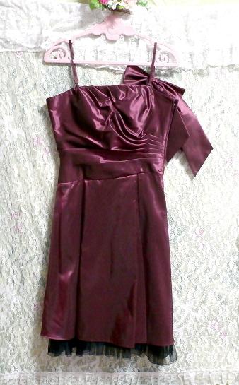 PREFERENCE PARTY'S プリフェレンスパーティーズ 紫光沢ワンピースキャミソールリボンドレス Purple gloss onepiece camisole ribbon dress_画像2