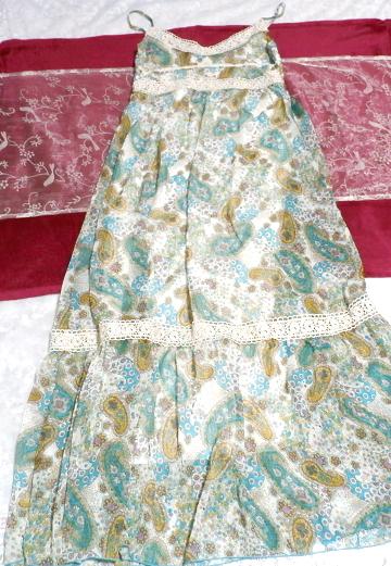 青緑フローラルホワイトエスニック柄シフォンマキシスカートワンピース Green blue floral white ethnic chiffon maxi skirt onepiece_画像1