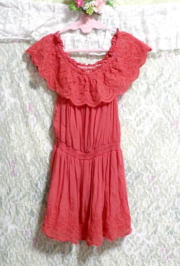 赤ピンクレースミニスカートワンピース Red pink lace mini skirt onepiece