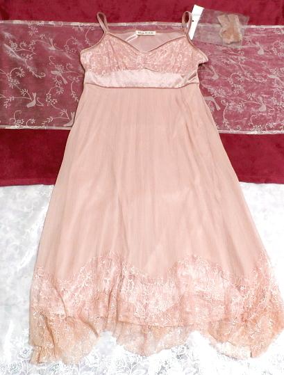 ピンクシフォンレースキャミソールワンピース/ネグリジェ Pink chiffon lace camisole onepiece/negligee