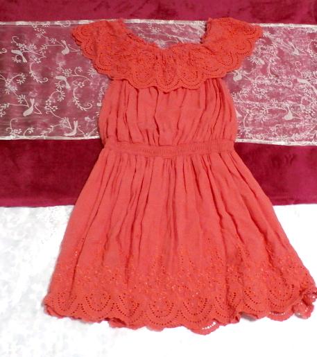 赤ピンクレースミニスカートワンピース Red pink lace mini skirt onepiece_画像3