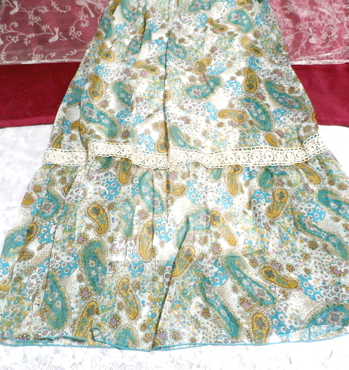 青緑フローラルホワイトエスニック柄シフォンマキシスカートワンピース Green blue floral white ethnic chiffon maxi skirt onepiece_画像3