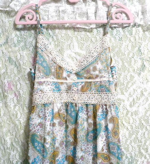 青緑フローラルホワイトエスニック柄シフォンマキシスカートワンピース Green blue floral white ethnic chiffon maxi skirt onepiece_画像6
