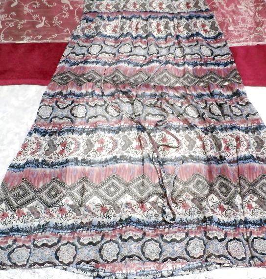 青とピンクと白エスニック柄Vネックロングスカートマキシワンピース Blue pink white ethnic pattern V neck long skirt maxi onepiece_画像3