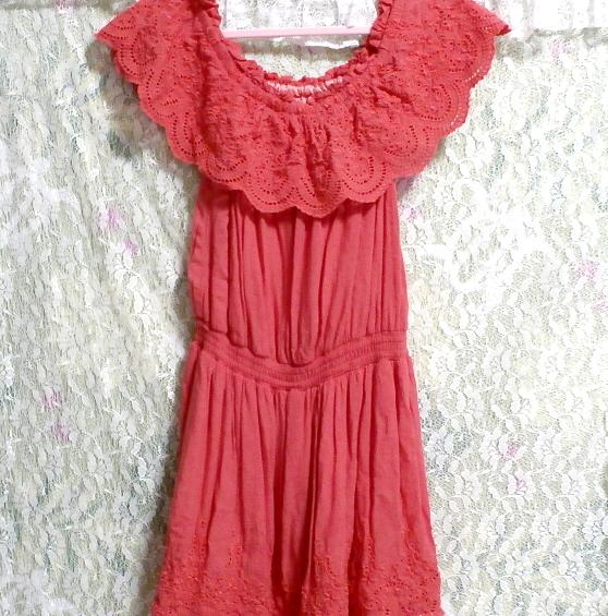 赤ピンクレースミニスカートワンピース Red pink lace mini skirt onepiece_画像2