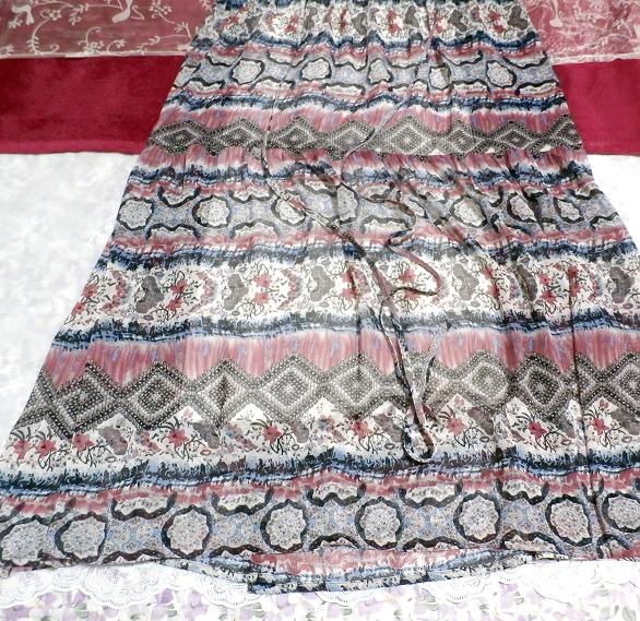 青とピンクと白エスニック柄Vネックロングスカートマキシワンピース Blue pink white ethnic pattern V neck long skirt maxi onepiece_画像4