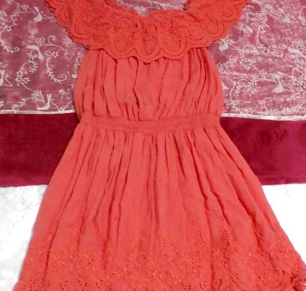 赤ピンクレースミニスカートワンピース Red pink lace mini skirt onepiece_画像4